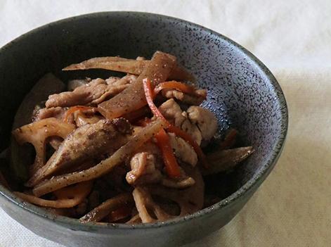 根菜と豚肉の金平