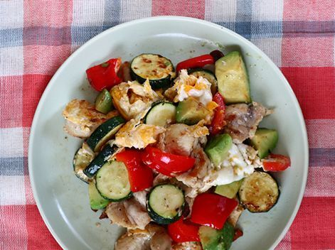 鶏肉と彩野菜の卵炒め