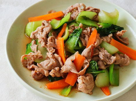 豚肉と青梗菜のやすまる炒め
