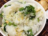 だしパックを使用した菜の花ごはんのレシピ画像