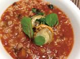 だしパックを使用した干しむきエビのトマトリゾットのレシピ画像