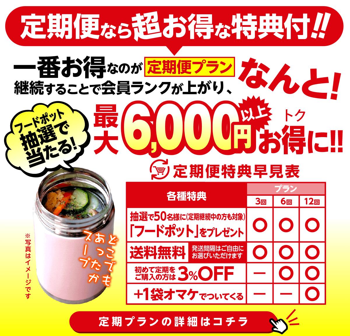 最大で6,000円お得になる定期便プラン!特典早見表